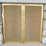 Scribed Outdoor Brass Fireplace Doors
