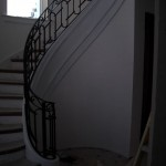 Railing for custom staircase, forged steel