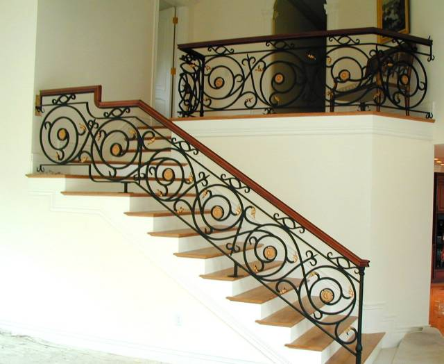 Stair Railing, Forged Steel U0026 Brass