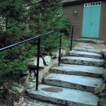 Pipe Railing on rustic stone steps