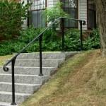 Simple railing to an elevated sidewalk