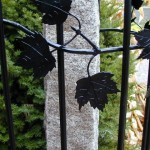 Railing with maple leaf motif, forged steel