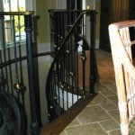 Spiral Staircase Railing, forged steel & brass